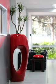 modern office plants. Stylish Red Modern Indoor Pot Design With Unique Plant On White Floor Black Seating And Office Plants H