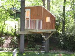 Decorations:Great Looking Simple Treehouse Designs For Kids With Pallet  Bamboo Fence And Green Grass