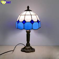 <b>FUMAT Tiffany Table Lamp</b> LED E27 Stained Glass Bedroom Blue ...