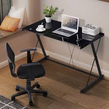 desk for office at home. Beautiful Desk New PC Laptop Glass Table Black Computer Desk Workstation Office Home  Furniture Intended For At S