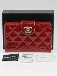 chanel zip wallet. chanel red quilted patent leather l-zip pocket wallet zip