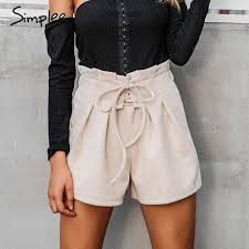 2019 whole simplee lace up suede faux leather shorts women casual high waist shorts female 2017 loose soft winter women bottoms from movearound