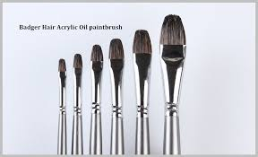 professional round badger artist brushes paint filbert art paint brush set with oil painting brush wood