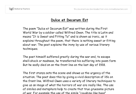 dulce et decorum est gcse english marked by teachers com document image preview