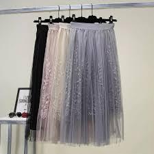 <b>Womens Floral</b> Embroidery Fresh Mesh Pleated Casual Trend <b>Tutu</b> ...