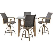 hanover hermosa 5 piece all weather wicker square patio bar height dining set