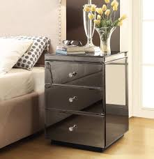 Mirror Furniture Rio Crystal Smoke Mirror Bedside Tables 7 Drawer Dresser