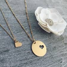 14k gold mother daughter necklace