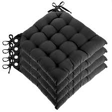 chair cushions with ties. Set Of 4 Reversible U-Shaped Chair Pads Ties Tufted Cotton Cushions Kitchen Seat With