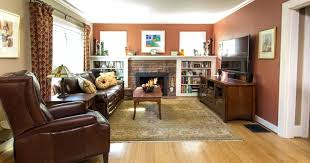 craftsman style living room dry panels on rods brick fireplace furniture area rugs remodel