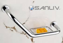 chrome shower grab bar with soap holder