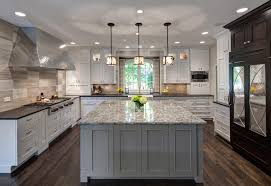 transitional kitchen lighting. 61 Most Endearing Transitional Kitchen Idea With Granite Top Island Dark Surface Counter Darker Wood Stain Flooring Attractive Pendant Lamps Different Color Lighting T