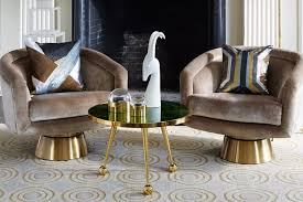 velvet swivel tub chairs and brass table by jonathan adler ultra violet