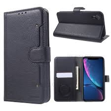 kaiyue premium pu leather wallet cell phone case for iphone xr 6 1 inch black