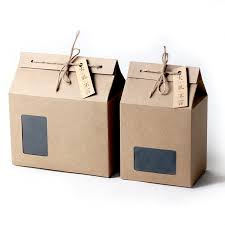 thick brown kraft paper folding gift box with rectangular window lace up with hemp rope