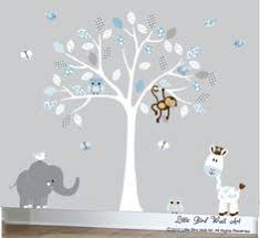 enchanted interiors premium self adhesive fabric nursery wall art stickers jungle wall decals featuring a safari tree swinging monkeys a giraffe  on safari themed nursery wall art with enchanted interiors premium self adhesive fabric nursery wall art