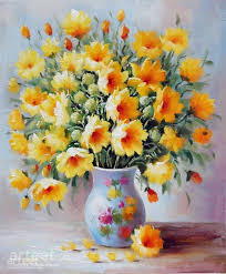 oil painting flowers for