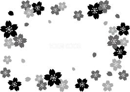 グレースケールの桜の花で囲むフレーム枠 白黒イラスト83155 素材good