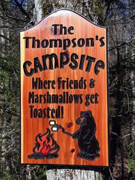 outdoor wood signs for home yard barn custom campsite sign with black bear