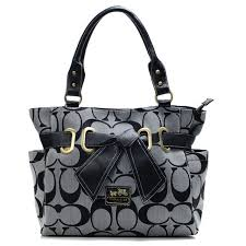 Coach Poppy Bowknot Signature Medium Grey Totes ANC