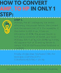 Amps To Hp Calculation Formula Chart How Many Amps Are