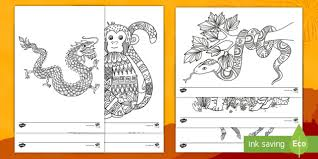 This day is the new moon day of the first chinese lunar month in the chinese lunar calendar system. Chinese New Year Animals Of The Zodiac Mindfulness Colouring Pages Chinese