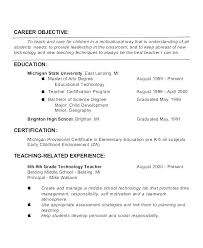 Teacher Objective Resume Teaching Resume Skills Blaisewashere Com
