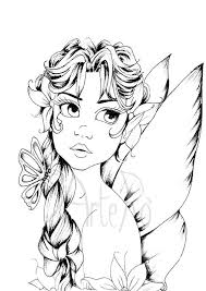 Fairy Adult Coloring Page Diy Downloadable Illustration Art