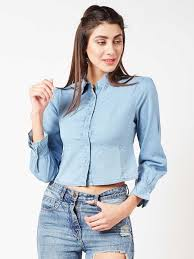The Style Ivy Women Solid Casual Blue Shirt Buy The Style