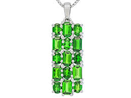 green chrome diopside sterling silver pendant with chain 3 39ctw ush143 jtv com