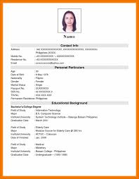 Free Printable Resume Free Printable Resume Format Basic Application Templates West 96