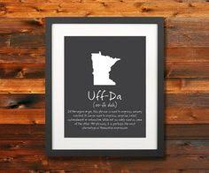 uff da mn nd sd wi state phrase poster norwegian sayings wall art silhouette digital print typography artwork instant
