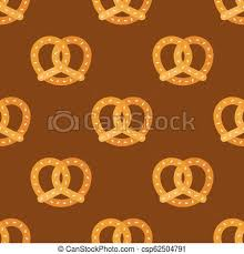 Pretzel Seamless Pattern Bakery Product For Use As Wallpaper Or