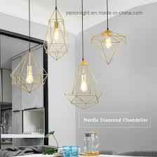 geometric iron wire chandelier light hanging pendant lamp