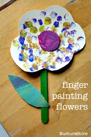 finger painting flower craft for toddlers