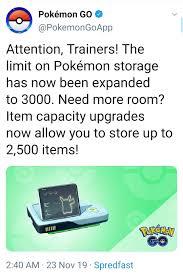 Pokemon Go : Pokemon storage & item bag capacity increased