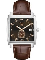 monaco automatic brown dial leather strap women s watch