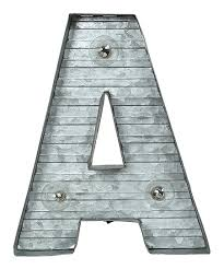 galvanized metal led letter a wall décor
