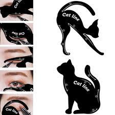 details about cat line eyeliner stencils cat eyes shaper eye shadow tool makeup template 2pcs