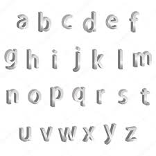 small silver metallic 3d alphabet letters stock vector
