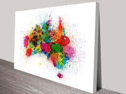 australia paint splashes map wall art on floral wall art australia with australia paint splashes map wall art by michael tompsett