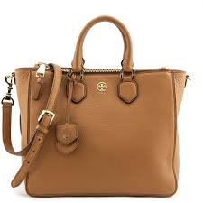 Designer Handbags Tory Burch Tory Burch Tan Pebbled Leather Double Zip Satchel