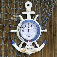 mediterranean style wooden anchor wall clock rudder wall clock creative home decoration children s room decor wall decoration non mute clock clocks decor