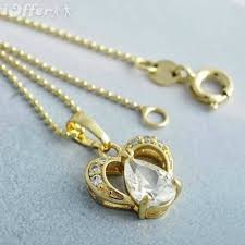 9k gold filled heart water drop pendant necklace t0908