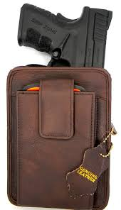 leather concealment holster and cell phone case all in one fits subcompact example glock 42 or 43