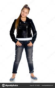 a teenage girl in a leather jacket and jeans