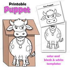 Cow Template Puppet Cow Craft Activity Printable Paper Bag Puppet Template