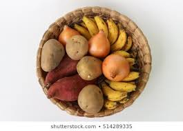 Image result for baskets with potatoes, onion, fruit
