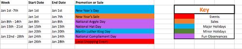 Marketing Promotional Calendar Organize Sales Planning The