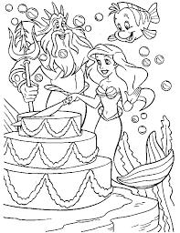 Little Mermaid Coloring Pages Ariel Birthday Coloringstar